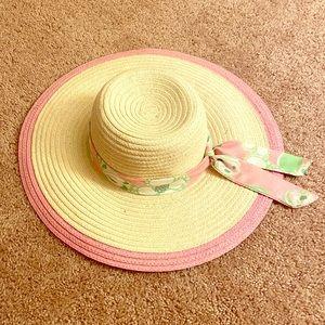 VGUC Lilly Pulitzer Straw Sun Hat Pink Tootsie